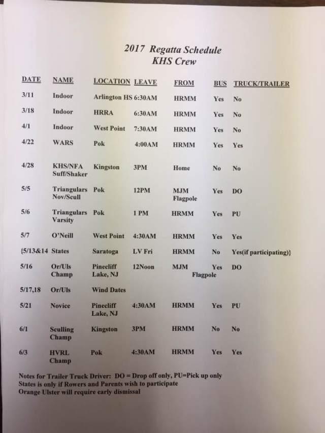 2017 Regatta Schedule