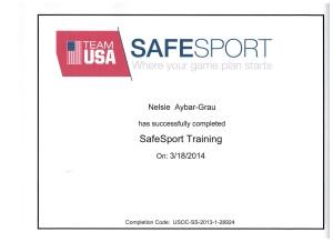 SAFESPORT Certificate