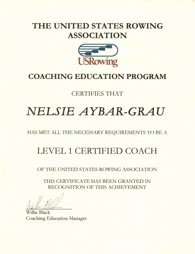 1 Level 1 Certificate for Nelsie