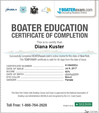 Boating Safety Certificate July 2017
