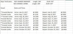 Grande Mariner and Grande Caribe Summer 2017